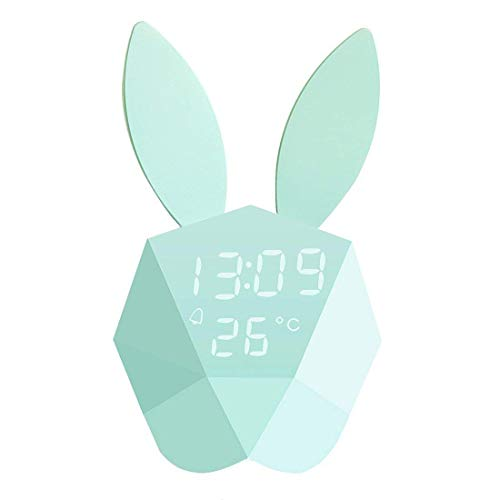 (Sruix Kids Alarm Clock Wall Clock Cute Night Light Table Clock Wake Up Light Cartoon Rabbit Bedside Table Lamp Birthday Gift for Kids Children Adults(Green))