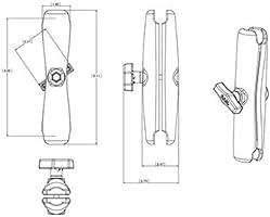 "RAM Mount Long 9.125/"" Double Aluminum Socket Arm for 1.5/"" Ball Bases"