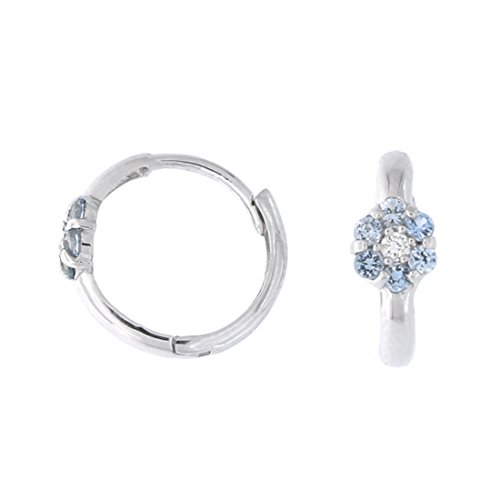 (Kids' 14k Yellow Gold Simulated Blue Topaz and Cubic Zirconia Flower Huggie Hoop Earrings, 11mm)