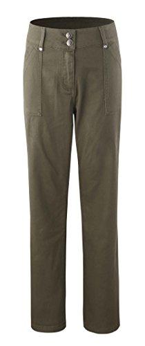 Bienzoe Women's Fashion Causal Twill Stretch Straight-Leg Pants Moss Size 12