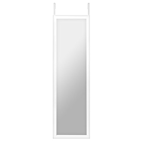 12 x 48-Inch Over The Door Mirror, Full-Length Mirror, Over-the-Door Hanging Hardware and Adhesive Strips Included (Full Wall Length White Mirror)