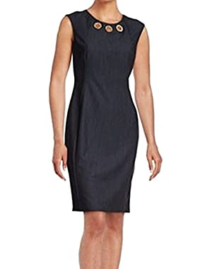 Calvin Klein Navy Womens Grommet-Detail Sheath Dress Blue 12