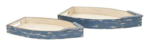Deco 79 20447 Durable Wood Boat Tray, Set of 2