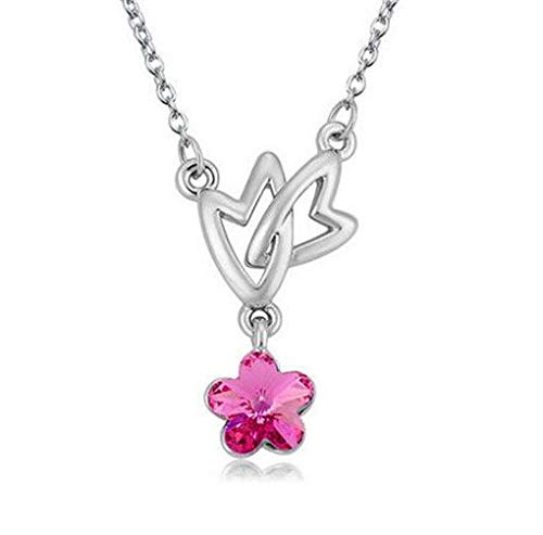 (Womens Heart stars Hot Pink Crystal Rhinestone Silver Chain Pendant Necklace HOT)