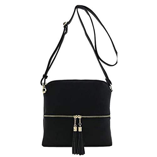 black Crossbody bags for women Lightweight Medium Classic Bag with tassel and Zipper Pocket Adjustable Strap PU leather