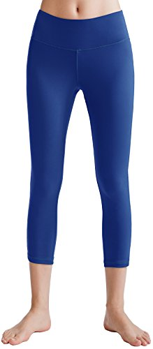 Oalka Women's Yoga Capris Power Flex Running Pants Workout Leggings Blue L