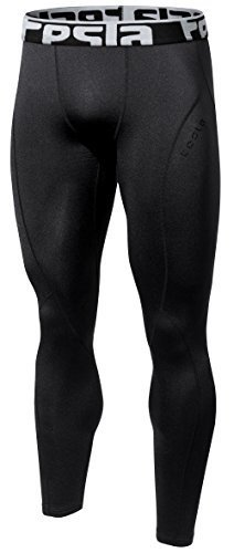 (TSLA TM-YUP33-BLK_Medium Men's Thermal Wintergear Compression Baselayer Pants Leggings Tights)
