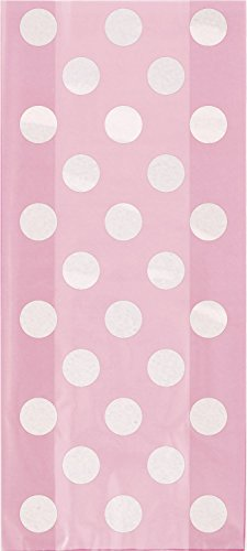(Light Pink Polka Dot Cellophane Bags, 20ct)