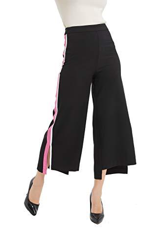 Tronjori Womens Bi-Stretch Wide Leg Pants Side Stripes Loose Trousers(M, Black) ()