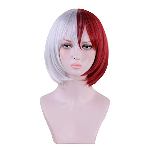 Anime Short Straight Red Silver White Bob Cosplay Wig Women Girls' Party Wigs for Christmas Halloween ()