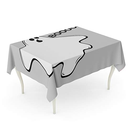 Tarolo Rectangle Tablecloth 52 x 70 Inch Autumn Happy Halloween Whisper Ghost Character Emoticons White Avatar of Crazy Funny Phantom Spooky Spirit Flat Baby Table Cloth