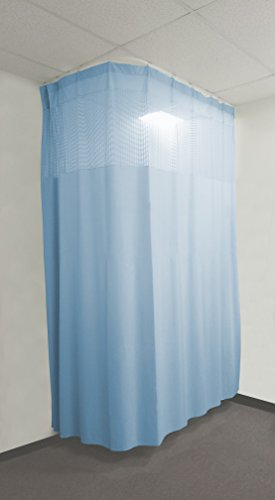 10ft Blue Medical Curtains Hospital Lab Clinic Room Decorative w/ Track- 9.5ft High