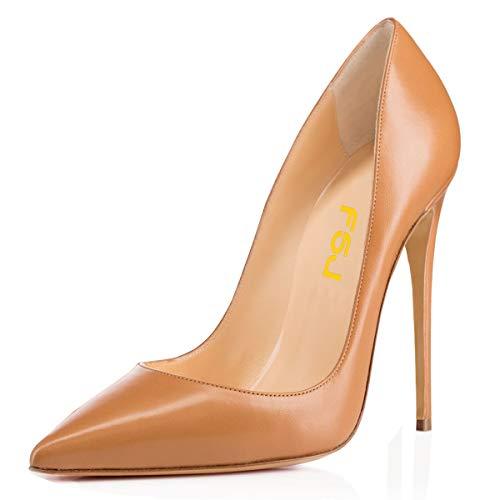(FSJ Women Classic Pointed Toe High Heels Evening Dress Pumps Slip On Stilettos Formal Office Shoes Size 9.5 Tan)