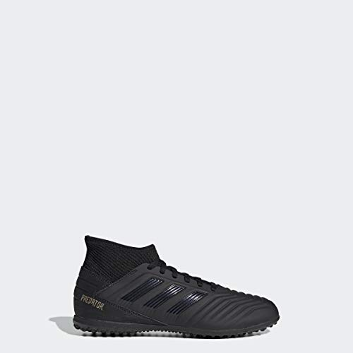 adidas Unisex-Kid's Predator 19.3 Turf Soccer Shoe, Black/Black/Gold Metallic, 6 M US Big Kid