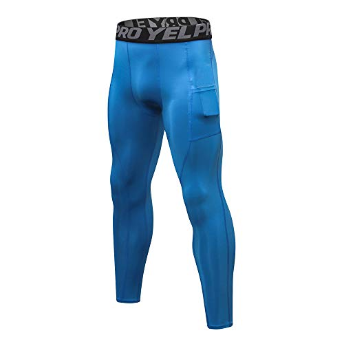Men's Workout Cool Dry Tights Leggings Gym Running Tight Bodybuilding Long Pants Sports Pants Compression Pant by Lowprofile Blue (Satin Console Legs)