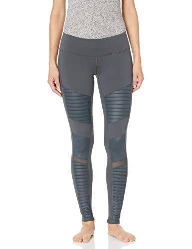 Alo Yoga Women's Moto Legging, Anthracite/Anthracite Glossy, Small