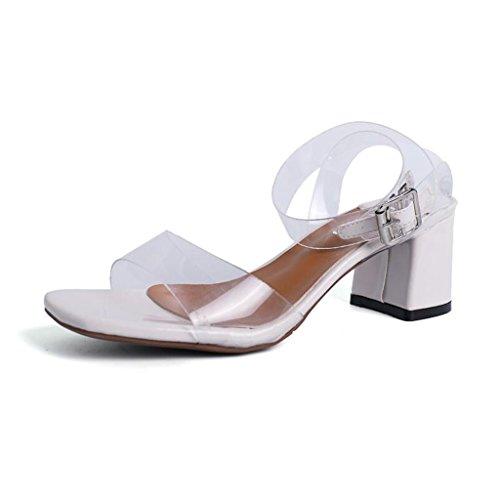 Moda del Dedo Tamaño Tacones Sandalias Abiertos CJC de Alto Zapatos Finos EU35 pie Tacón del Beige Sandalias UK3 Refrescante Color de Elegantes Pink WYHHwAqZ