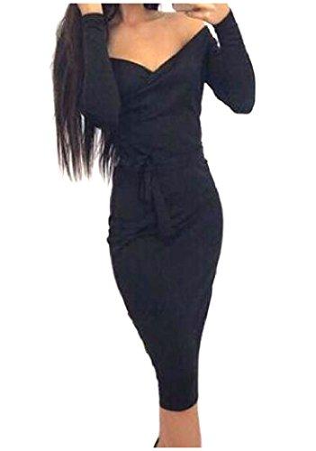 Solide Maigre Confortable Ceinture Pour Femmes À Manches Longues Sexy V Cou Maigre Milieu De Robe Noire