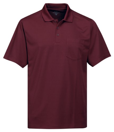 Tri-Mountain Men's 5 oz Moisture Wicking Polyester Shirt w/Pocket Dark Maroon Large