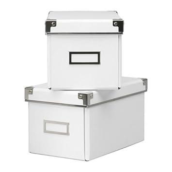 Ikea Kassett Cd Boxes White Set Of 2 New 6.25u0026quot; By 10.25u0026quot; ...