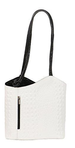 malito Bolso en el Diseño de Cocodrilo y desde Cuero T502 Mujer Talla Única blanco-negro