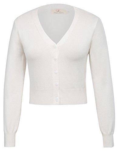 Women Open Front Bolero Shrug Cardigian Ivory Size S - Front Jacket Button Short