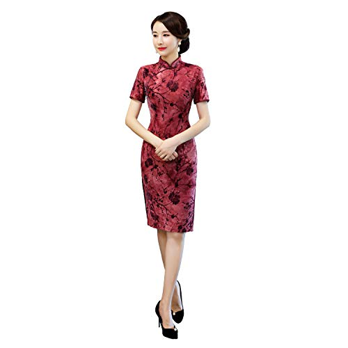 Chinese Knee Length Dress - Shanghai Story Short Sleeve Chinese Cheongsam Dress Knee Length Qipao L Red