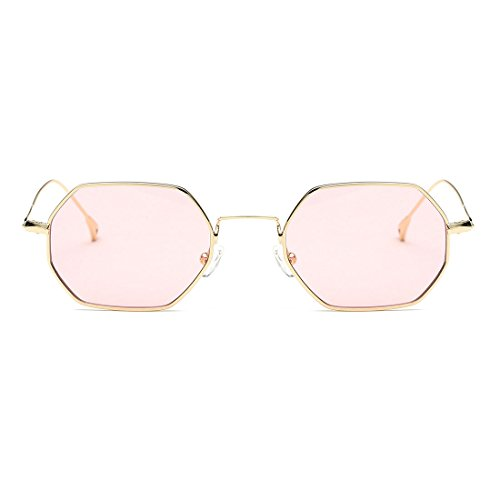 AEVOGUE Unisex Sunglasses Small Metal Frame Asymmetry Temple AE0520 Gold&pink