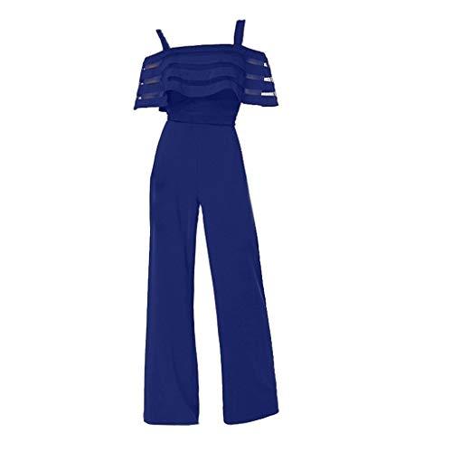 (Shusuen Women's Plus and Regular Size Racer Back Jumpsuit Cold Shoulder Jumpsuit Rompers Blue)