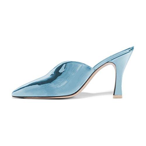 Fsj Donne Bellissime Scarpe A Punta Toe Mule Slip On Sandali Con Tacco Alto Scarpe Da Festa In Vernice Taglia 4-15 Us Light Blue