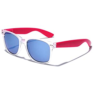 Colorful Retro Fashion Sunglasses - Translucent Clear Matte Frame - Color Mirrored Lenses - Clear & Pink
