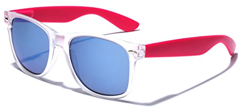 Colorful Retro Fashion Sunglasses - Translucent Clear Matte Frame - Color Mirrored Lenses - Clear & - Online Sunglasses Retro