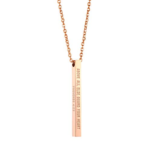 Joycuff Christian Necklace for Women Inspirational Vertical Bar Pendant Necklaces Above All Else Guard Your Heart