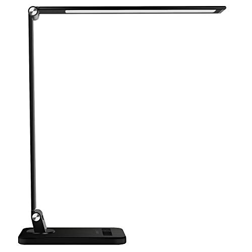 MEIKEE LED Desk Lamp,Aluminum Dimmable Table Lamp,5 Lighting Modes with 8 Brightness Levels,Touch Control and Memory Function,30min/60min Auto Timer,5V/1A USB Charging Port,12W,Black (Table Lamps Lighting)