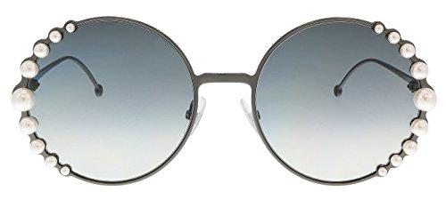 Fendi Women's Round Pearl Frame Sunglasses, Dark Ruthen/Dark Grey Gradient, One Size