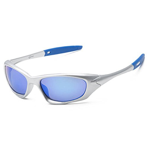 (SACAS Active Sport Collection Maximum UV Protection Sunglasses UNBREAKBLE TR90 Frame in Silver Blue Revo)