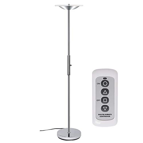 Floor Shade Lamp Acrylic (SUNLLIPE LED Remote Control Floor Lamp Acrylic Shade 18W Uplight Dimmable Adjustable 71-Inch Tall Standing Lamps for Living Room,Bedroom and Office)