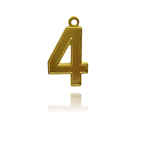 Number 4 Gold Plated Jersey Style Sports Necklace Charm Pendant (0.8