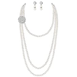 1920 Gatsby Vintage Pearl Necklace Earrings Set