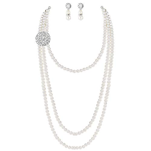 BABEYOND 1920s Gatsby Pearl Necklace Vintage Bridal Pearl