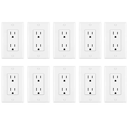 [10 Pack] BESTTEN 15A Tamper Resistant Decor Receptacle, Standard Electrical Wall Outlet, Wall Plates Included, Self Grounding, Commercial Grade, UL Listed, White ()