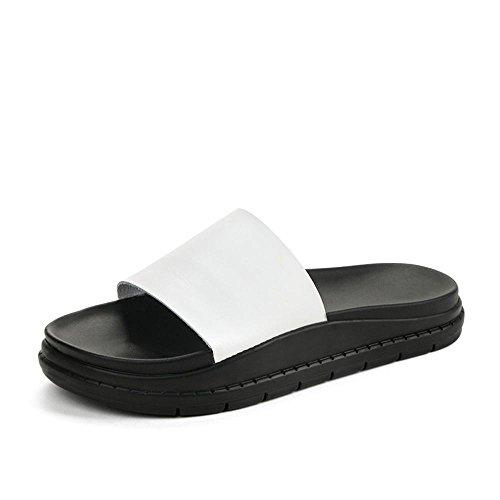 Heart&M Casual plataforma del talón suela plana mediana de las mujeres del color sólido de la PU sandalias de los deslizadores White