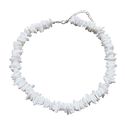 ATIMIGO Natural Puka Shell Choker Necklace for Women Girls,Handmade Adjustable Sea Shell Clam Chips Hawaii Beach Necklace Jewelry for Men