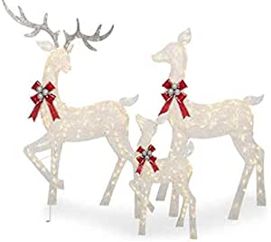 """Large 3-Piece LED Lighted Holiday Deer Family - 60"""" Buck, 52"""" Doe & 28"""" Fawn - 360 Clear LED Lights"""