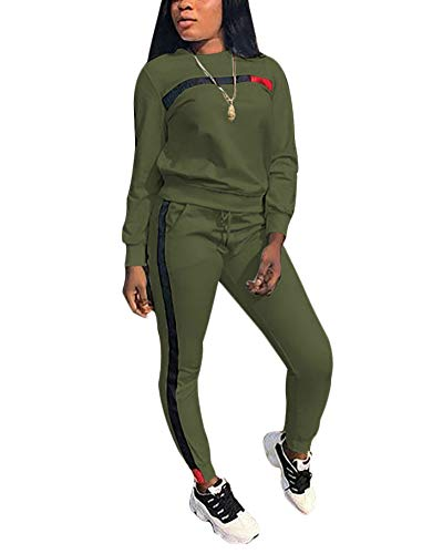 - Women's 2 Piece Outfits - Stripe Patchwork Sweatsuits Long Sleeve Pullover Sweatshirt Skinny Long Pants Tracksuit Set Army Green Medium