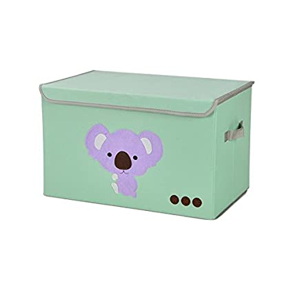 KWLET Storage Box Bins Foldable Decorative Storage Bins With Flip Top Lids  And Handles Closet