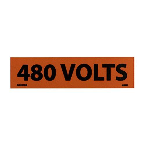 "NMC JL22010O Voltage Marker, ""480 VOLTS"", 4-1/2"" Width x 1-1/8"" Height, Pressure Sensitive Vinyl, Black on Orange (Pack of 25)"