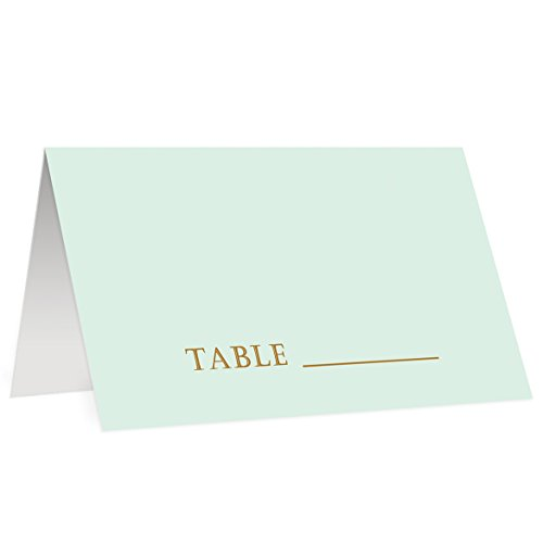"Pack of 50 Mint Green Place Cards Folded Wedding Table Tent Pre-scored 3.5"" x 2"" Tented Escort Placecard Occasion Fill In Blank Premium Reserved Seating Banquet Conference Event Food Buffet Label"