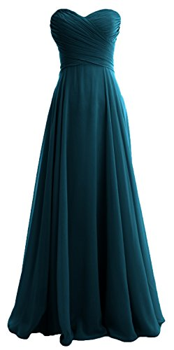 MACloth Women Strapless Pleated Chiffon Long Bridesmaid Dress Wedding Party Gown Teal