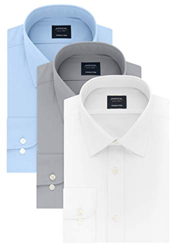 (Arrow Men's Dress Shirt Poplin, White/Robins Egg Blue/Mercury, 18-18.5